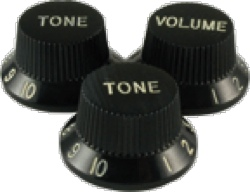 Knob Strat Black 2 Tone 1 Volume package of 3